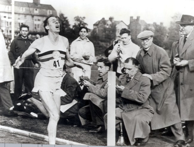 THE WORLD'S FIRST FOUR MINUTE MILE - ROGER BANNISTER MEDICAL STUDENT ROGER BANNISTER BECOMES THE FIRST MAN TO RUN A MILE IN LESS THAN FOUR MINUTES - 3 MINUTES 59.4 SECONDS. AT OXFORD IN THE ANNUAL NIGHT MATCH BETWEEN THE UNIVERSITY AND THE AMATEUR ATHLETIC ASSOCIATION. Bannister was running on behalf od the AAA along with Chris Brasher, Chris Chattaway and W T Hewlett.